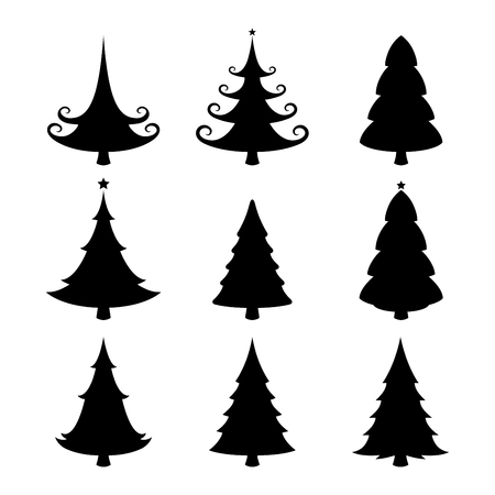 Chritmas tree silhouettes on the white background. Vector illustration. Иллюстрация