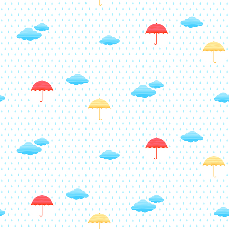 Seamless pattern with clouds, umbrella and rain in the sky. Vector illustration.
