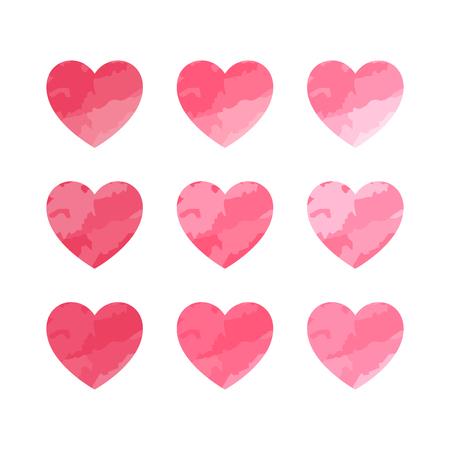 Valentine heart set. Cute heart symbol. Vector illustration. Иллюстрация