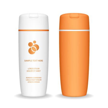 Bottiglia di shampoo isolato su sfondo bianco. Flacone cosmetico per liquido, shampoo, bagnoschiuma. Pacchetto di prodotti di bellezza, illustrazione vettoriale.