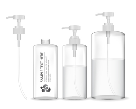 Cosmetic plastic bottle with white dispenser pump. Cosmetic container for gel, liquid, lotion, cream, shampoo, bath foam. Beauty product package, vector illustration.