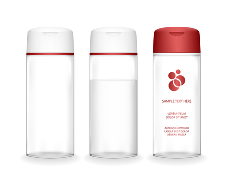 Shampoo bottle isolated on white background (transparent). Cosmetic bottle for liquid, shampoo, bath foam. Beauty product package, vector illustration.