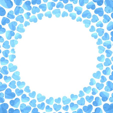 Valentines background. Hearts frame. Vector illustration.