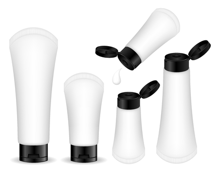 Cosmetic plastic tube for cream, gel, liquid, foam. Beauty product package, vector illustration.