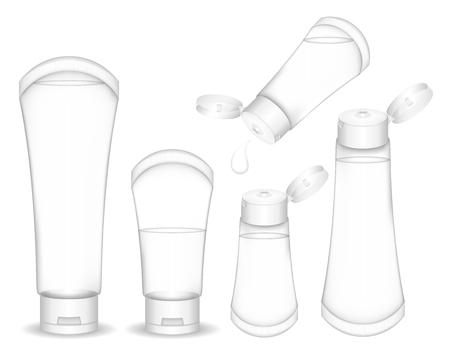 Transparent cosmetic tube for cream, gel, liquid, foam. Beauty product package. Vector illustration. Иллюстрация