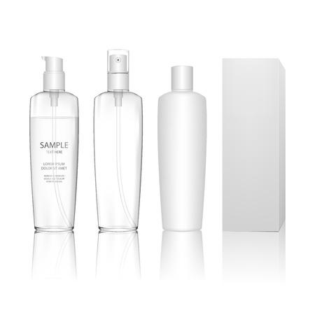 Flacone cosmetico trasparente in plastica con spray, pompa dosatore. Contenitore liquido per gel, lozioni, shampoo, bagno schiuma, prodotti per la cura della pelle. Pacchetto di prodotti di bellezza. Illustrazione vettoriale.