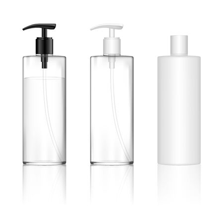 Cosmetic transparent plastic bottle with dispenser pump. Skin care bottles for shower gel, liquid soap, lotion, cream, shampoo, bath foam. Beauty product package. Vector illustration.