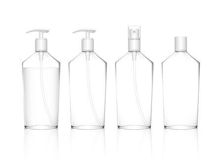 Cosmetic transparent plastic bottle with spray, dispenser pump caps. Skin care bottles for shower gel, liquid soap, lotion, cream, shampoo, bath foam. Beauty product package. Vector illustration. Vetores