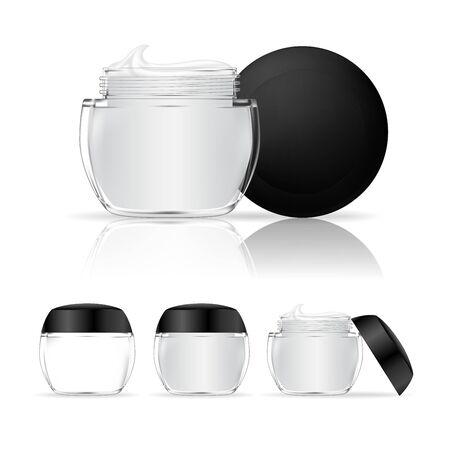 Vasetto di crema isolato su sfondo bianco. Flacone cosmetico in vetro trasparente. Pacchetto di prodotti di bellezza, illustrazione vettoriale. Vettoriali