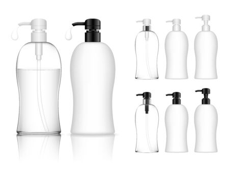 Cosmetic transparent plastic bottle with dispenser pump. Liquid container for gel, lotion, cream, shampoo, bath foam. Beauty product package. Vector illustration.