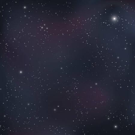 Stars in night sky. Starry night sky background. Vector Illustration. Vetores