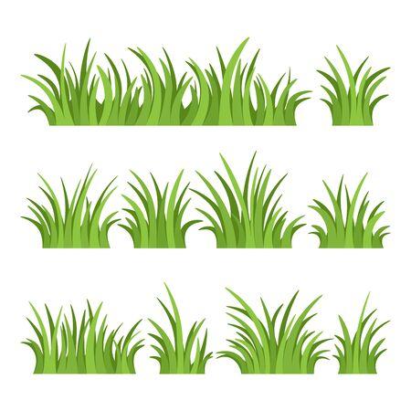 Set di erba verde isolato su sfondo bianco. Illustrazione vettoriale. Vettoriali