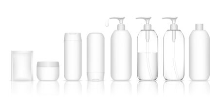 Cosmetic container set for liquid, cream, gel, lotion. Collection of Shampoo Bottles. Beauty product package, vector illustration. 일러스트