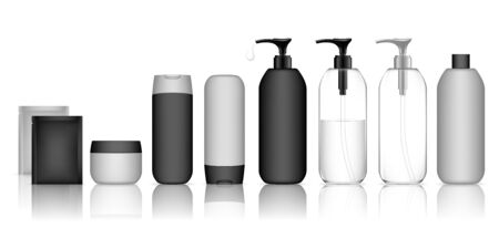 Cosmetic container set for liquid, cream, gel, lotion. Collection of Shampoo Bottles. Beauty product package, vector illustration. Çizim