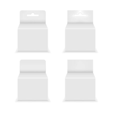 Paper white packaging box with hanging hole. Blank product package template. Vector illustration.