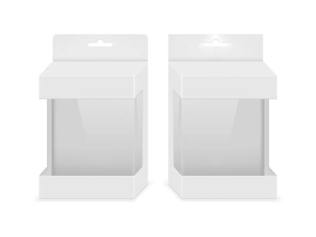 Paper white packaging box with transparent window and hanging hole. Blank product package template. Vector illustration. Illusztráció