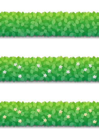 Bushes hedge and little flowers isolated on white background. Green bushes fence seamless pattern. Vector Illustration.