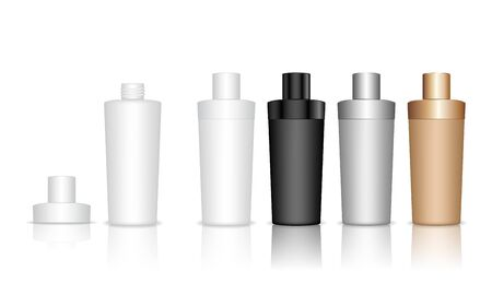 Cosmetic bottle. Liquid container for gel, lotion, cream, shampoo, bath foam. Beauty product package. Vector illustration.