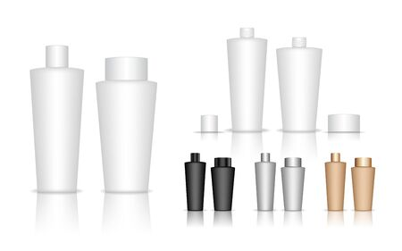 Cosmetic bottle. Liquid container for gel, lotion, cream, shampoo, bath foam. Beauty product package. Vector illustration. Ilustracje wektorowe