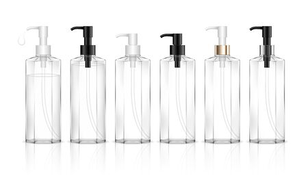 Cosmetic transparent bottle with dispenser pump. Liquid container for gel, lotion, cream, shampoo, bath foam. Beauty product package. Vector illustration.