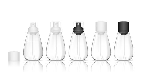 Transparent spray bottles isolated on white background. Cosmetic container for liquid, gel, lotion, cream. Beauty product package, vector illustration.