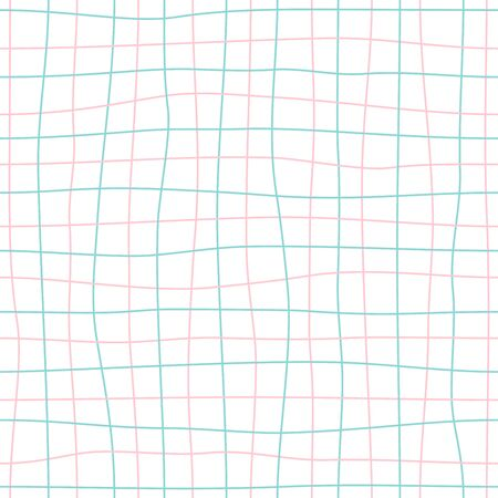Mesh seamless pattern. Hand drawn grid line background, pink and turquoise. Vector Illustration. Vectores