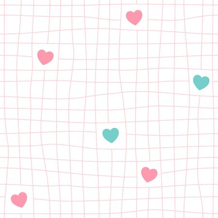 Mesh and cute heart shape seamless pattern. Hand drawn pink grid line background, pink and turquoise. Vector Illustration.