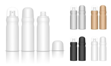 Spray bottles isolated on white background. Cosmetic container for liquid, gel, lotion, cream. Beauty product package, vector illustration.  イラスト・ベクター素材