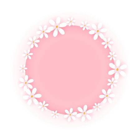 Sweet flower frame isolated on white background. Pink circle badge with cute white floral border. Vector illustration.