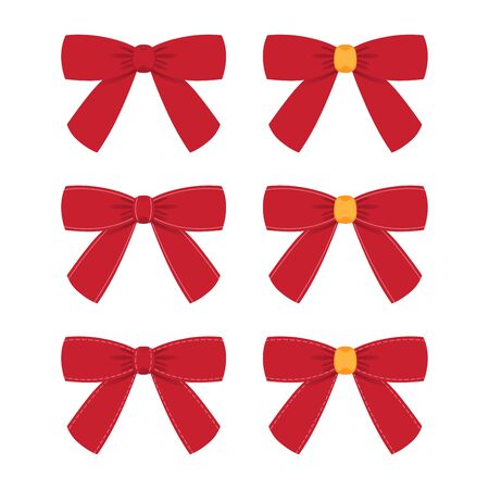 Collection of shiny ribbon bow isolated on white background. Vector Illustration.