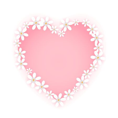 Sweet flower frame isolated on white background. Pink heart badge shape with cute white floral border. Vector illustration. Vectores