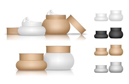 Cream jar isolated on white background. Cosmetic bottle for skin care. Beauty product package, vector illustration.