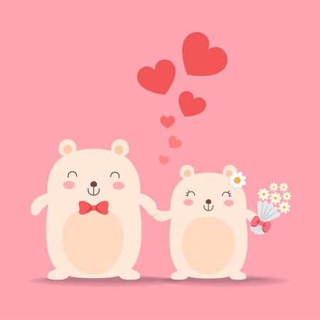Little cute bears in love, wedding couple. Vector illustration. Vectores