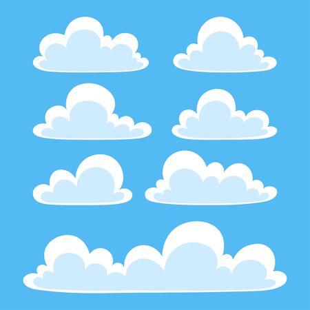 Flat clouds set in the blue sky. Vector Illustration. Vectores