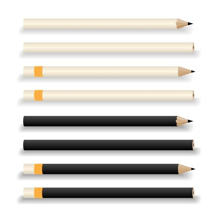 Black and white pencils mock-up isolated on white background. Vector Illustration.