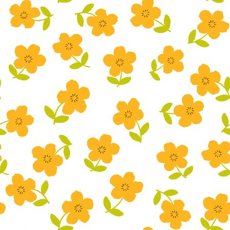 Seamless pattern with cute floral, flowers background. Vector illustration.