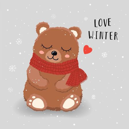 Cute Teddy Bear with red scarf love snow in winter. Vector illustration. Vectores