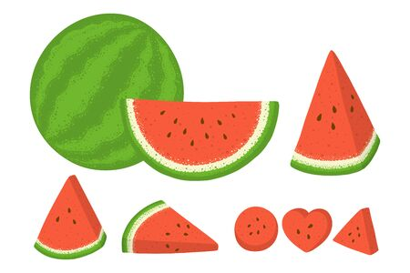 Set of whole and sliced watermelon with seeds isolated in white background. Vector illustration. Vectores
