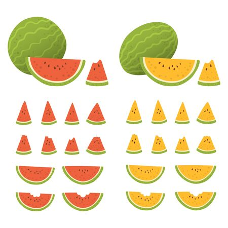 Set of whole and sliced watermelon with seeds isolated in white background. Fresh fruits in different shape and color (red, yellow). Vector illustration.