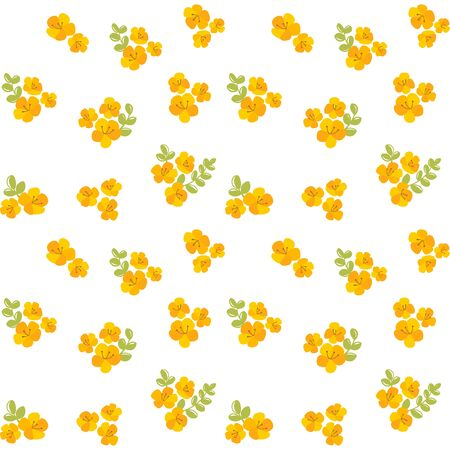 Seamless pattern with cute floral, yellow flowers background. Vector illustration.