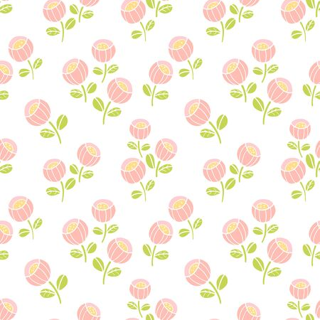 Seamless pattern with cute floral, pink flowers background. Vector illustration. Vectores