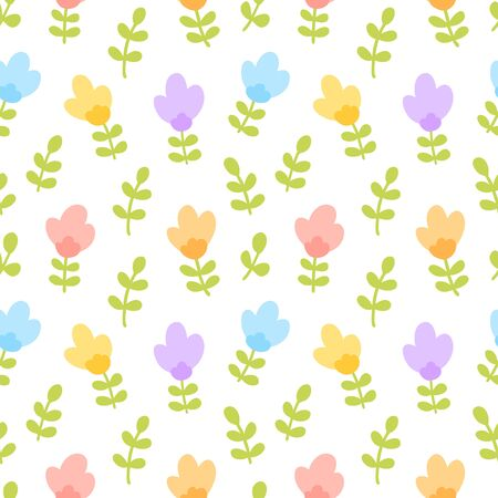 Seamless pattern with cute floral, colorful flowers background. Vector illustration.