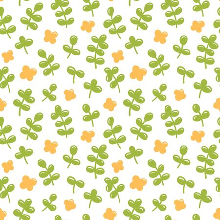 Seamless pattern with green leaves and little yellow flower. Vector illustration.