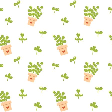 Seamless pattern with green leaves in cute flower pot. Vector illustration.