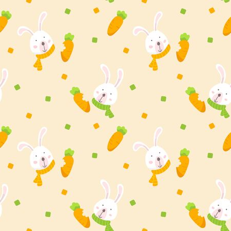 Seamless pattern with white rabbit and carrot. Cute cartoon bunny wallpaper background. Vector Illustration.