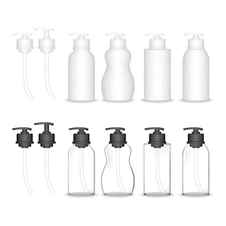 Cosmetic plastic bottle with dispenser pump. Liquid container for gel, lotion, cream, shampoo, bath foam. Beauty product package, vector illustration.
