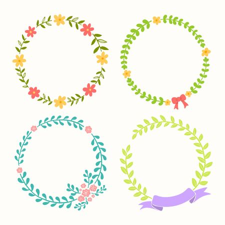 Floral frame collection. Set of the circle border with cute flowers, ribbon bows. Vector Illustration. Vectores