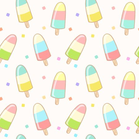 Seamless pattern with colorful ice cream. Sweet dessert wallpaper background. Vector Illustration. Vectores