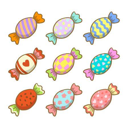 Set of cartoon candy. Sweet cute dessert. Vector Illustration.