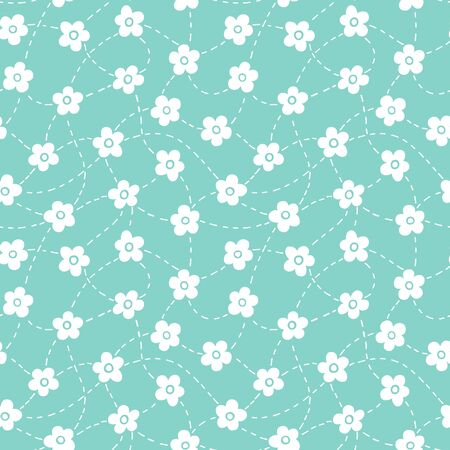 Seamless pattern with cute floral and dashed lines, flowers background. Vector illustration. Vectores